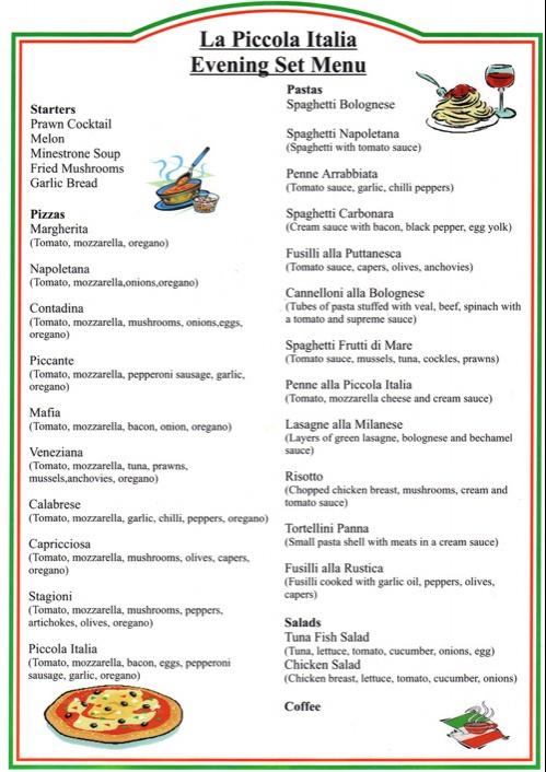 La picolla italian restaurant bournemouth set party meal - Italian cuisine menu list ...